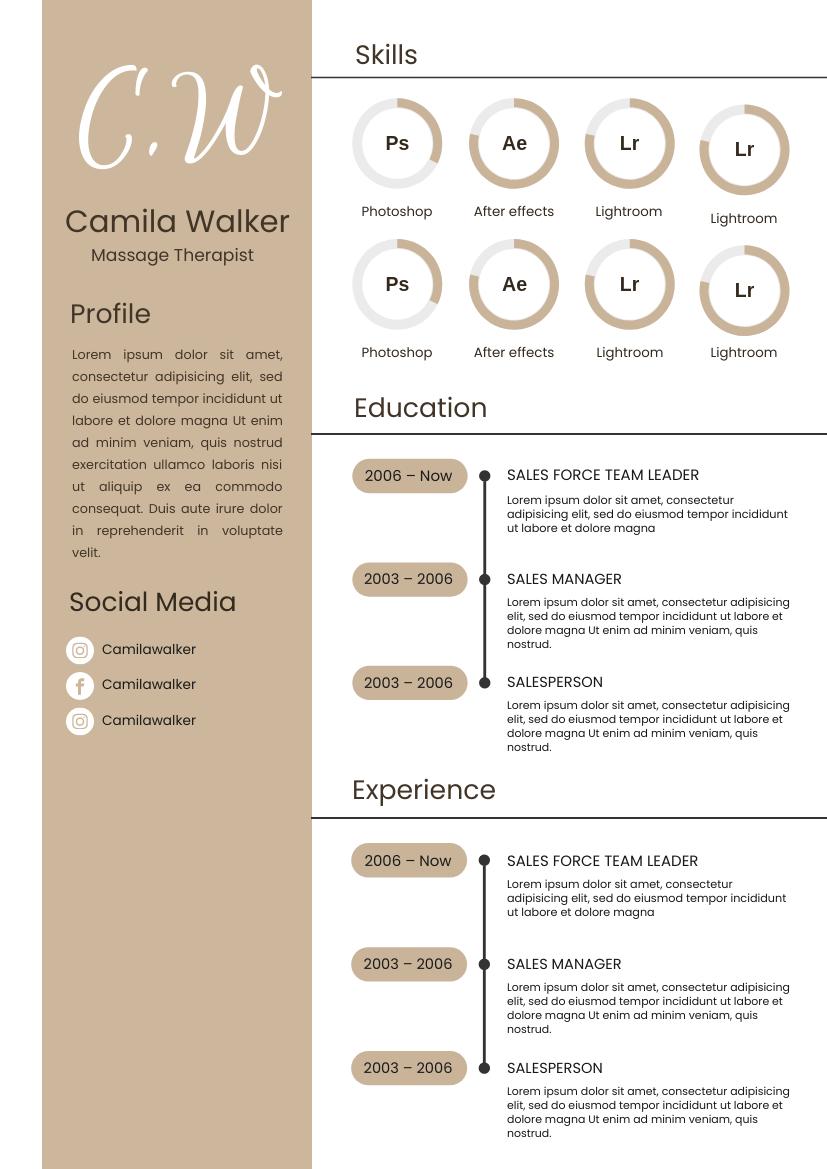 Resume template: Peanut Brown Resume (Created by InfoART's Resume maker)