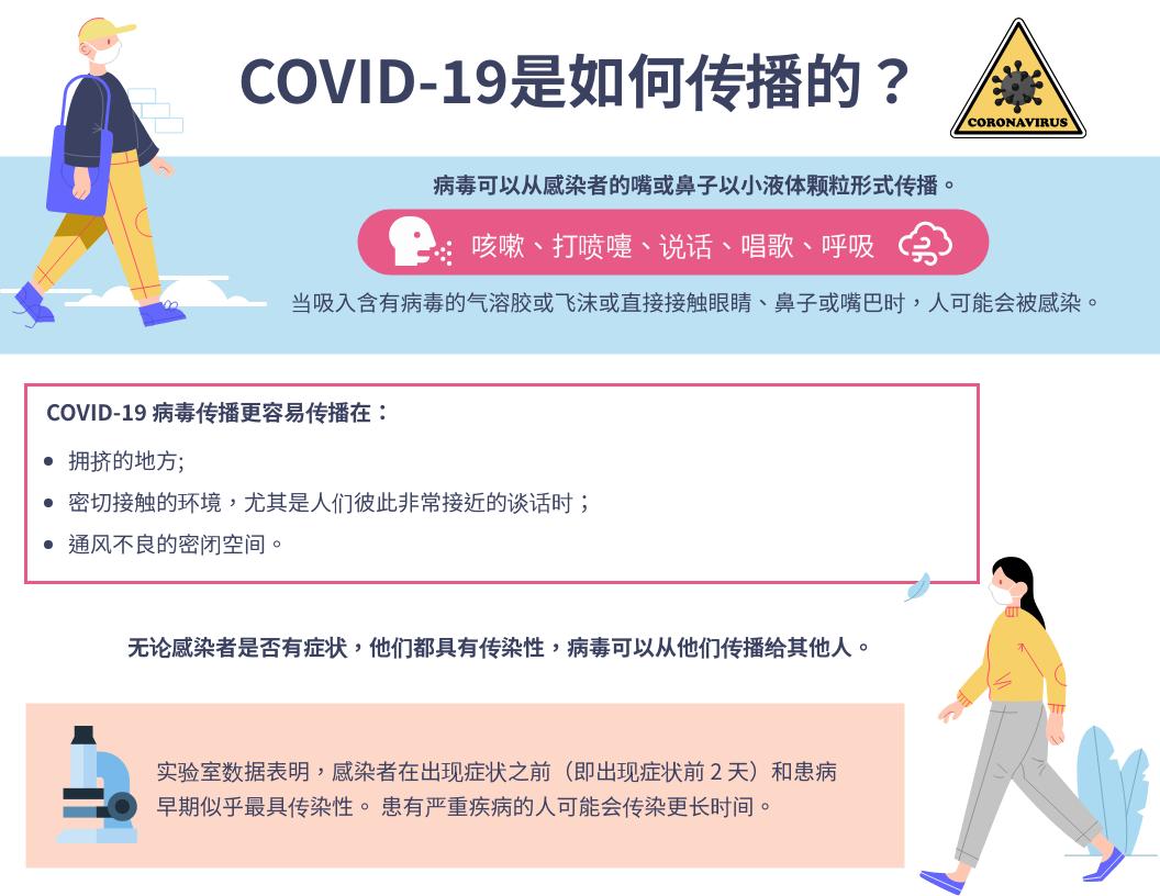 信息图表 template: COVID-19 信息图:它是如何传播的? (Created by InfoART's 信息图表 maker)