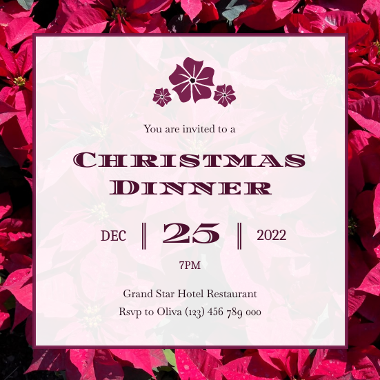 Invitation template: Red Christmas Flower Christmas Dinner Invitation (Created by InfoART's Invitation maker)
