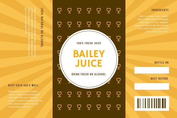 Label template: Drink Juice Photo Bottle Product Label (Created by InfoART's Label maker)