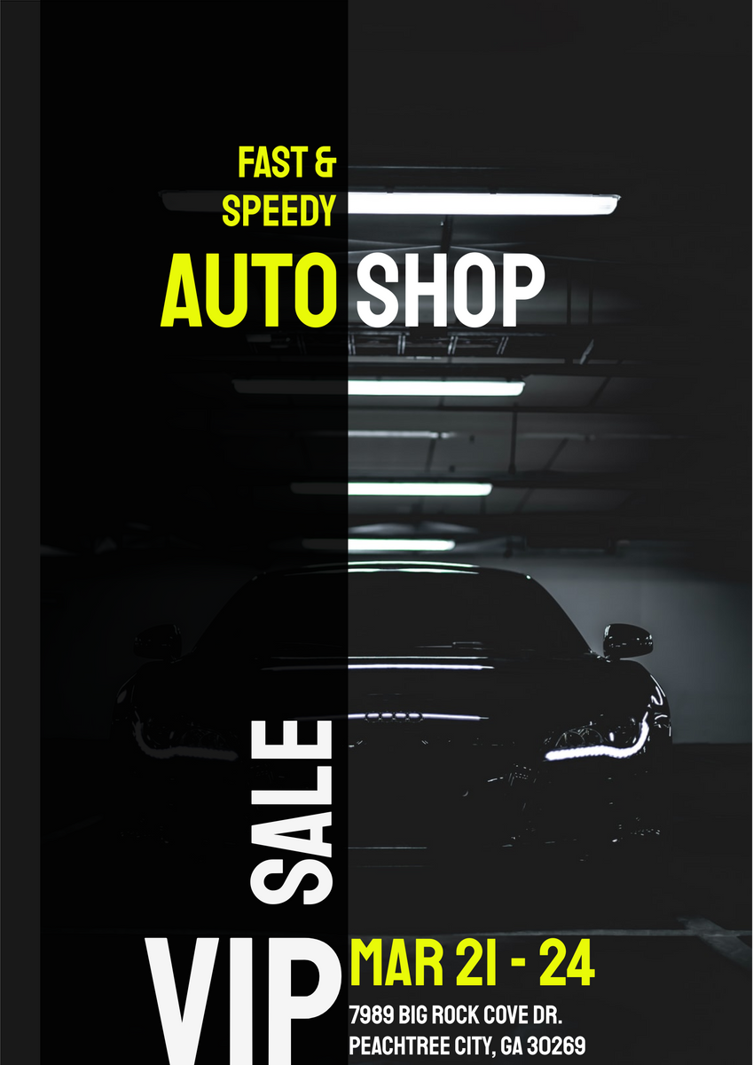 Poster template: Auto Shop Sale Poster (Created by InfoART's Poster maker)