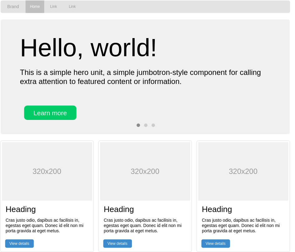 Bootstrap Wireframe template: Homepage with Hero Slider (Created by Diagrams's Bootstrap Wireframe maker)