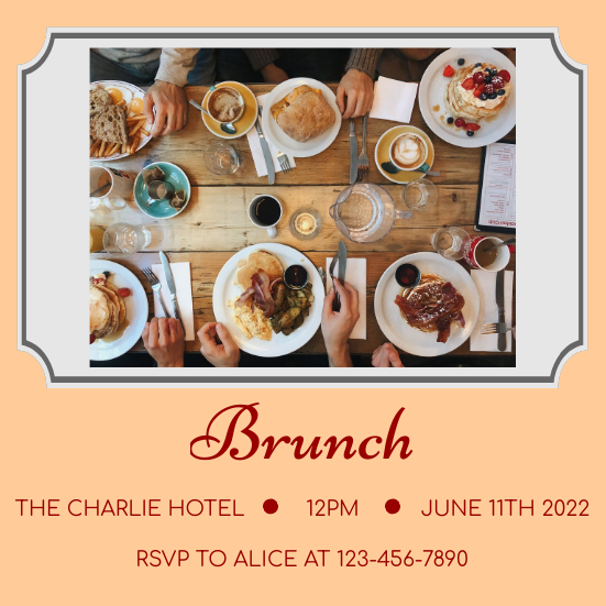 Invitation template: Brunch Invitation (Created by InfoART's Invitation marker)