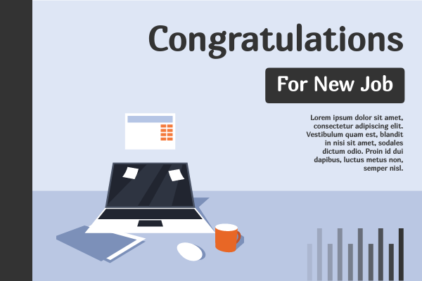 Greeting Card template: Congratulations For New Job Office Greeting Card (Created by InfoART's Greeting Card maker)
