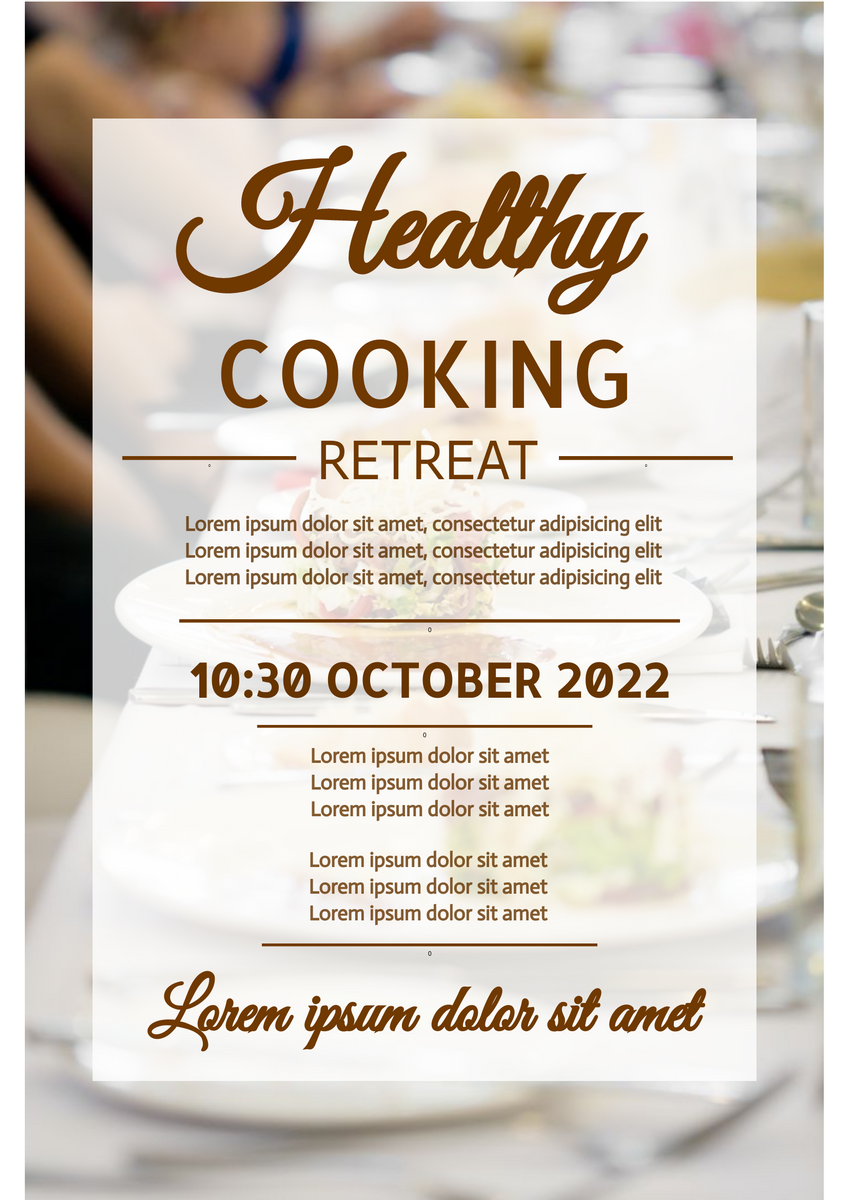 Poster template: Healthy Cooking Retreat Poster (Created by InfoART's Poster marker)