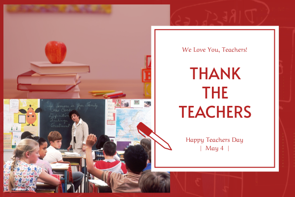 Greeting Card template: Red School Photo Teachers Day Greeting Card (Created by InfoART's Greeting Card maker)