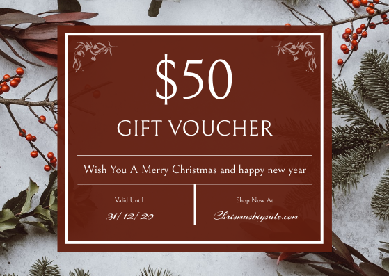 Gift Card template: Christmas Plants Photo Holiday Gift Card (Created by InfoART's Gift Card maker)