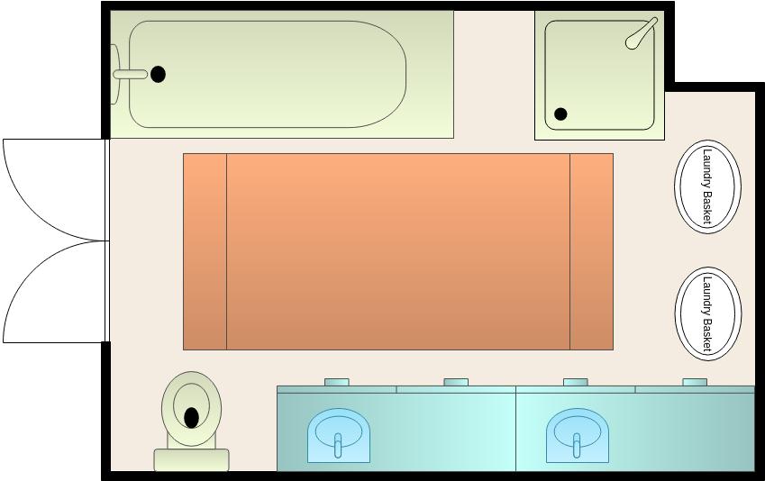 Bathroom Floor Plan template: Medium Size Bathroom Layout (Created by Diagrams's Bathroom Floor Plan maker)