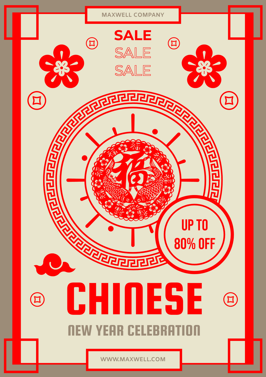 Poster template: Red New Year Sales Poster (Created by InfoART's Poster maker)