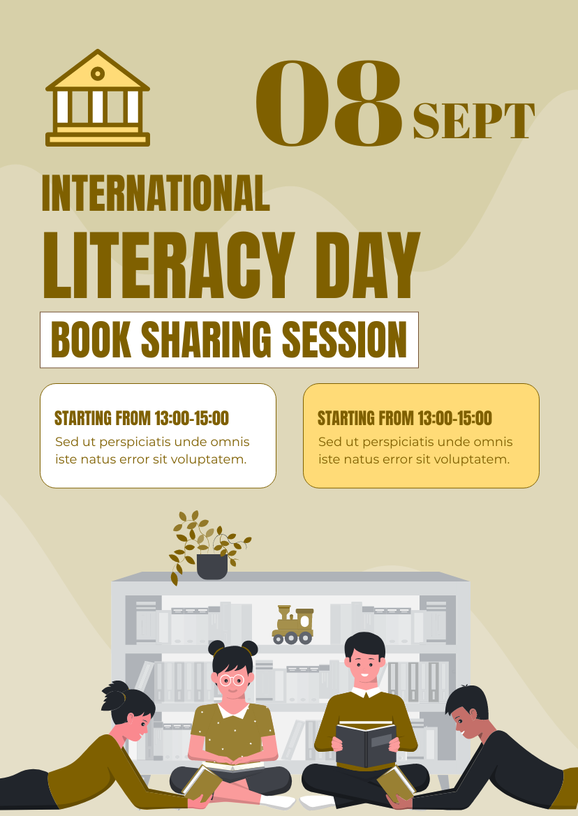 Flyer template: National Literacy Day Book Sharing Flyer (Created by InfoART's Flyer maker)