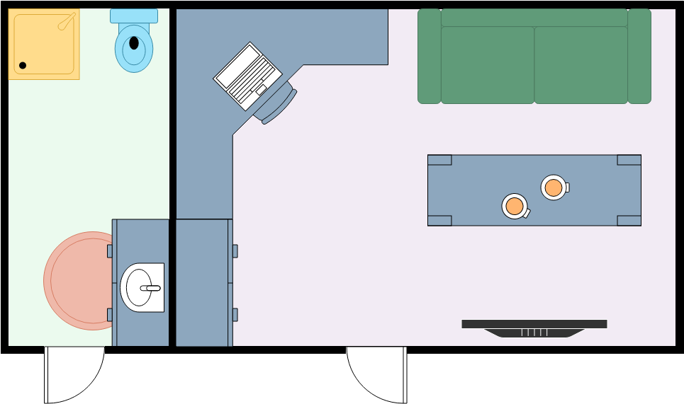 Home Office Floor Plan template: Small Home Office with Bathroom (Created by Diagrams's Home Office Floor Plan maker)
