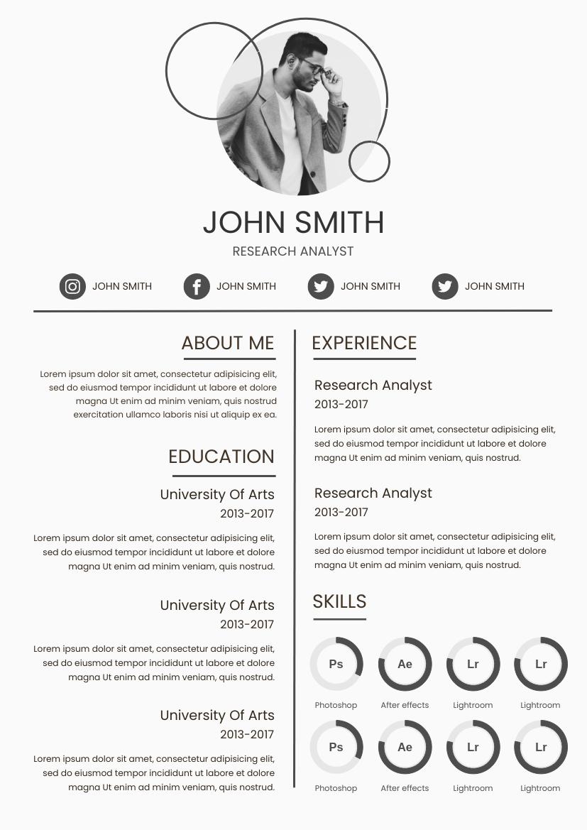 Resume template: Minimal Resume (Created by InfoART's Resume maker)