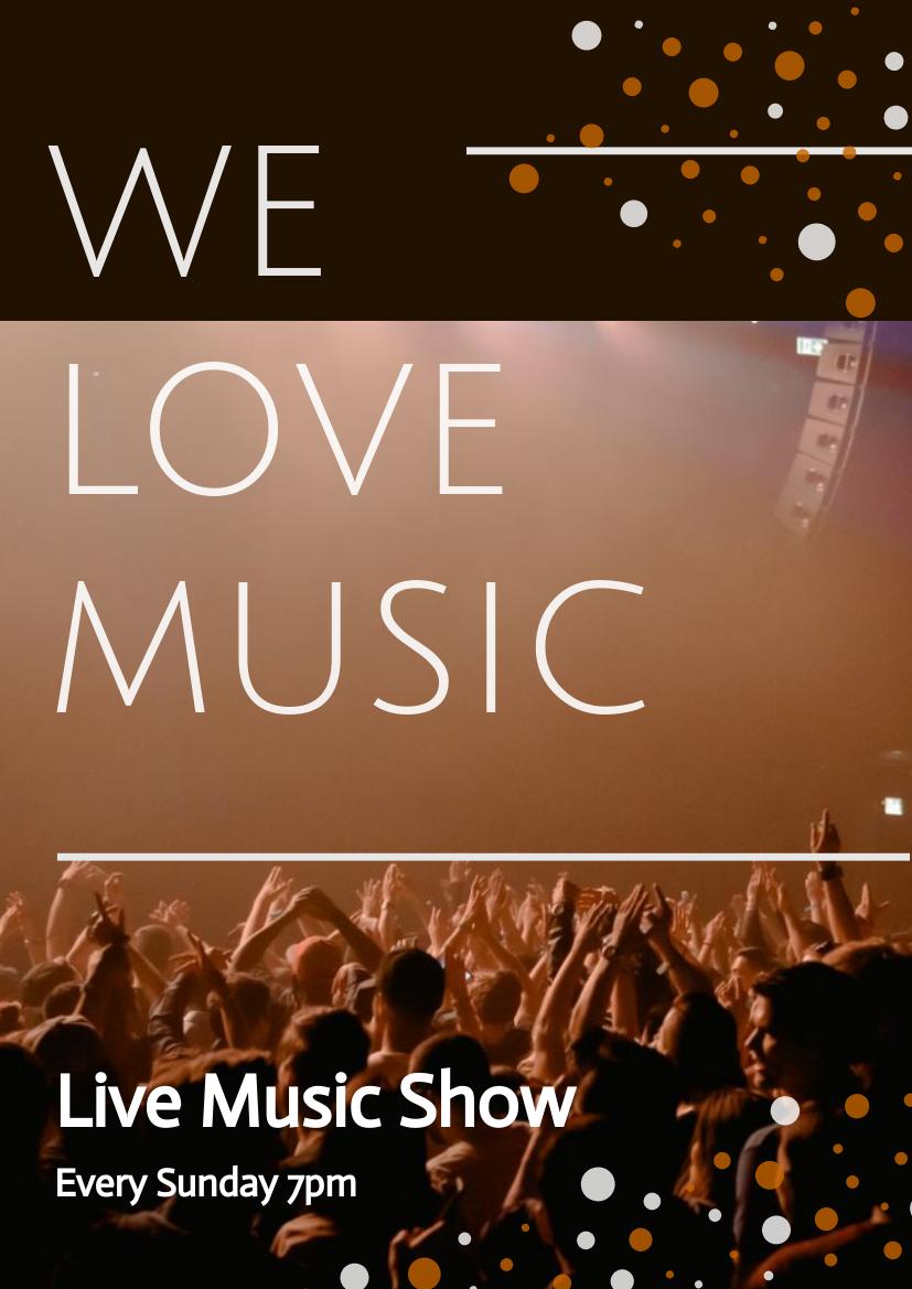 Flyer template: We Love Music Flyer (Created by InfoART's Flyer maker)