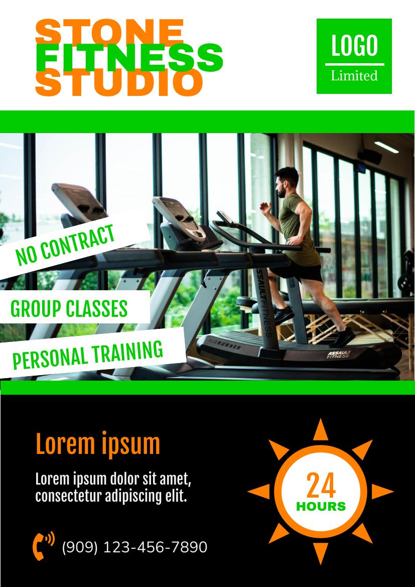 Flyer template: 24-Hours Fitness Studio Flyer (Created by InfoART's Flyer maker)