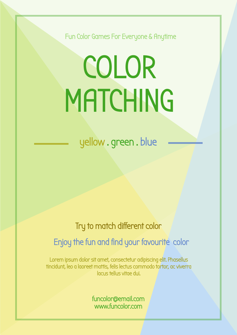 Flyer template: Color Matching Games Flyer (Created by InfoART's Flyer maker)