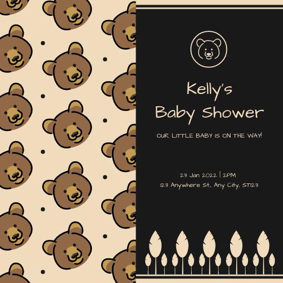 Invitation template: Brown And Black Bear Cartoon Baby Shower Invitation (Created by InfoART's Invitation maker)