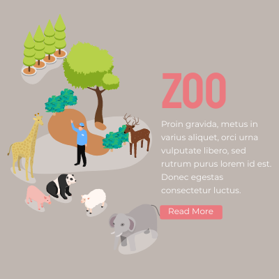 Isometric Diagram template: Zoo Banner (Created by InfoART's Isometric Diagram marker)
