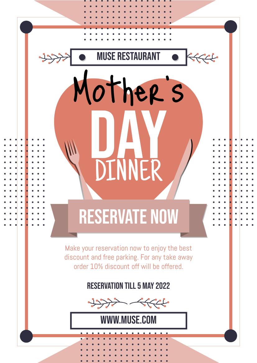 Flyer template: Mother's Day Diner Restaurant Flyer (Created by InfoART's Flyer maker)