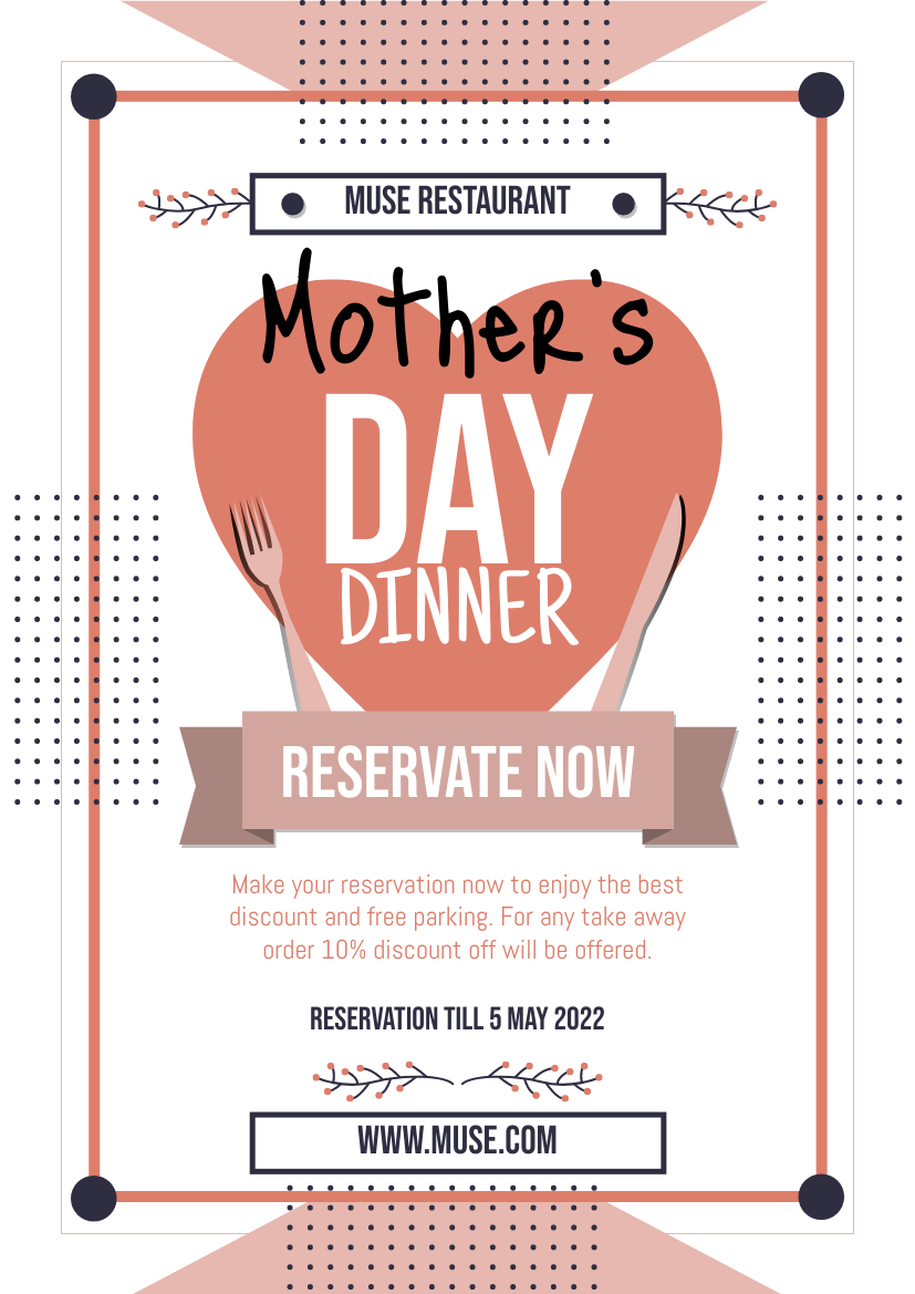 Flyer template: Mother's Day Dinner Promotion Flyer (Created by InfoART's Flyer maker)