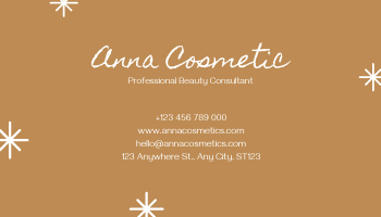 Business Card template: Brown Make Up Photo Cosmetic Business Card (Created by InfoART's Business Card maker)