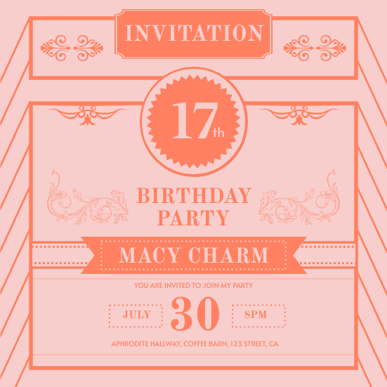 Invitation template: Pink Vintage Birthday Invitation (Created by InfoART's Invitation maker)