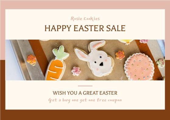 Postcard template: Pink Brown Easter Cookies Photo Easter Postcard (Created by InfoART's Postcard maker)