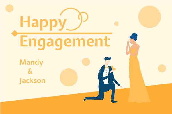Greeting Card template: Happy Engagement Illustrated Greeting Card (Created by InfoART's Greeting Card maker)