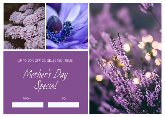 Gift Card template: Purple Floral Photo Frame Mother's Day Gift Card (Created by InfoART's Gift Card maker)