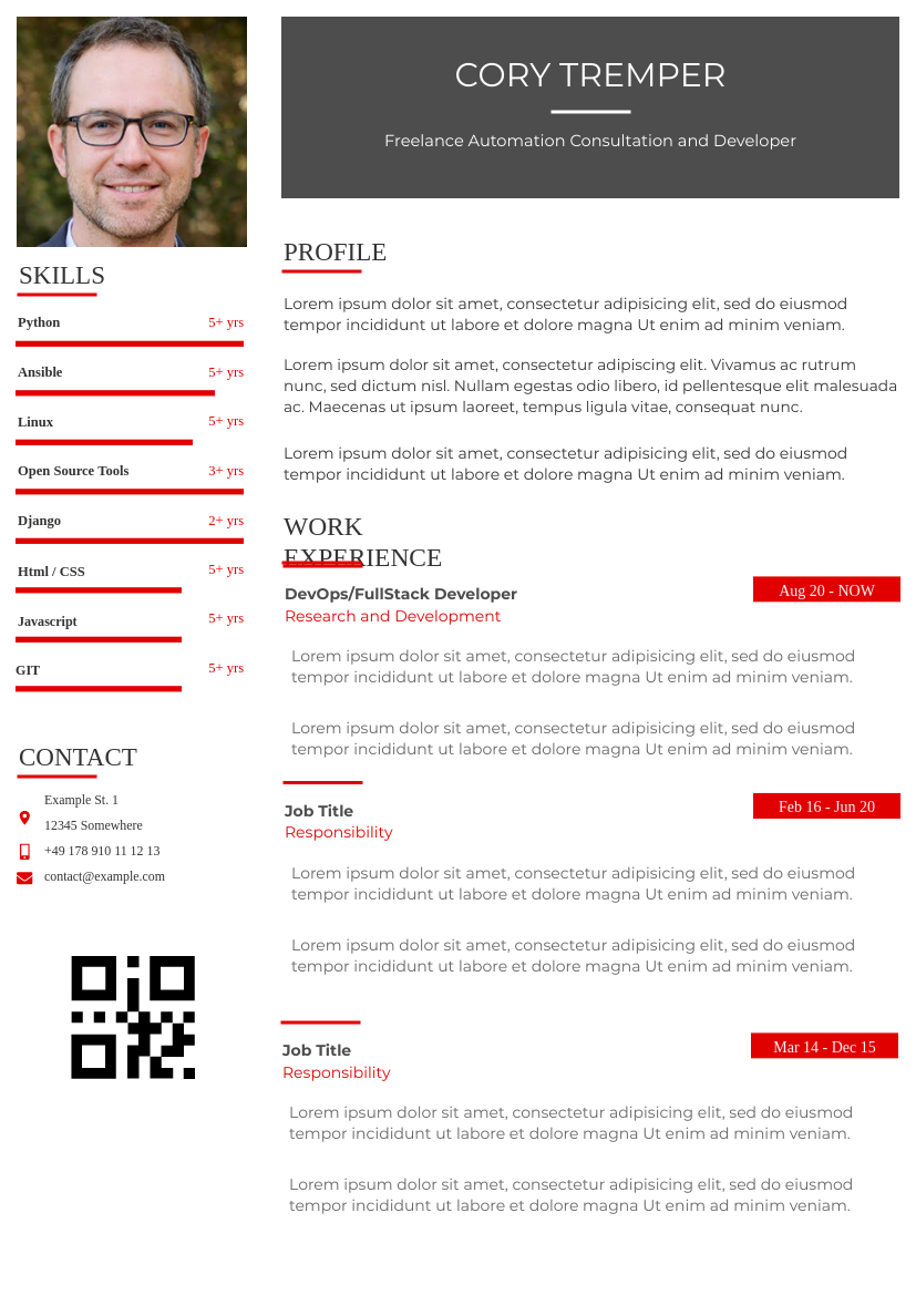Resume template: Resume with Left Sidebar (Created by InfoART's Resume maker)