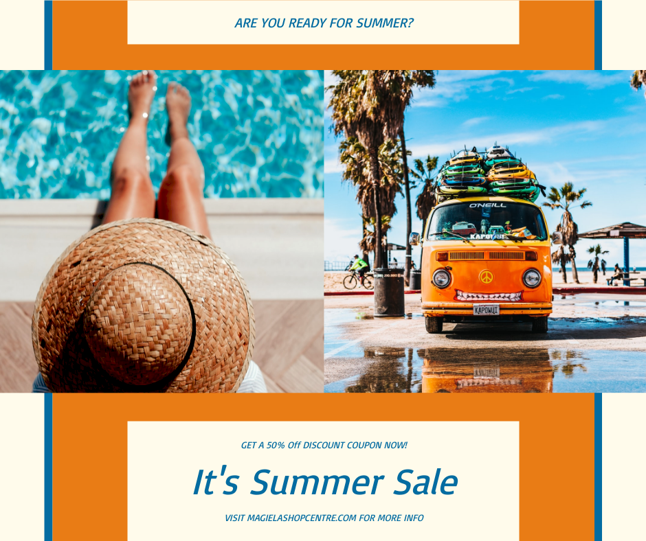 Facebook Post template: Orange And Blue Vacation Photo Summer Sale Facebook Post (Created by InfoART's Facebook Post maker)
