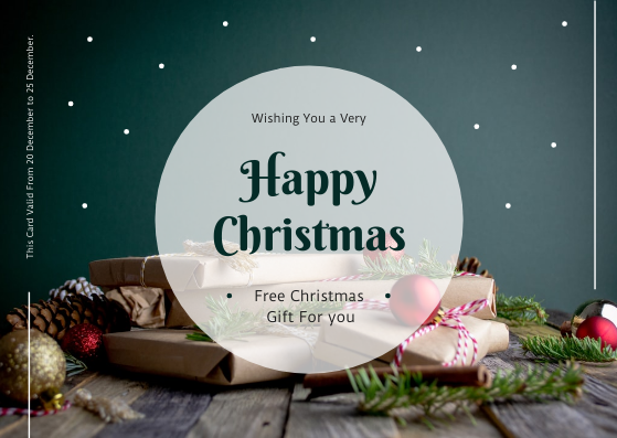 Gift Card template: Dark Green Free Christmas Gift Gift Card (Created by InfoART's Gift Card maker)
