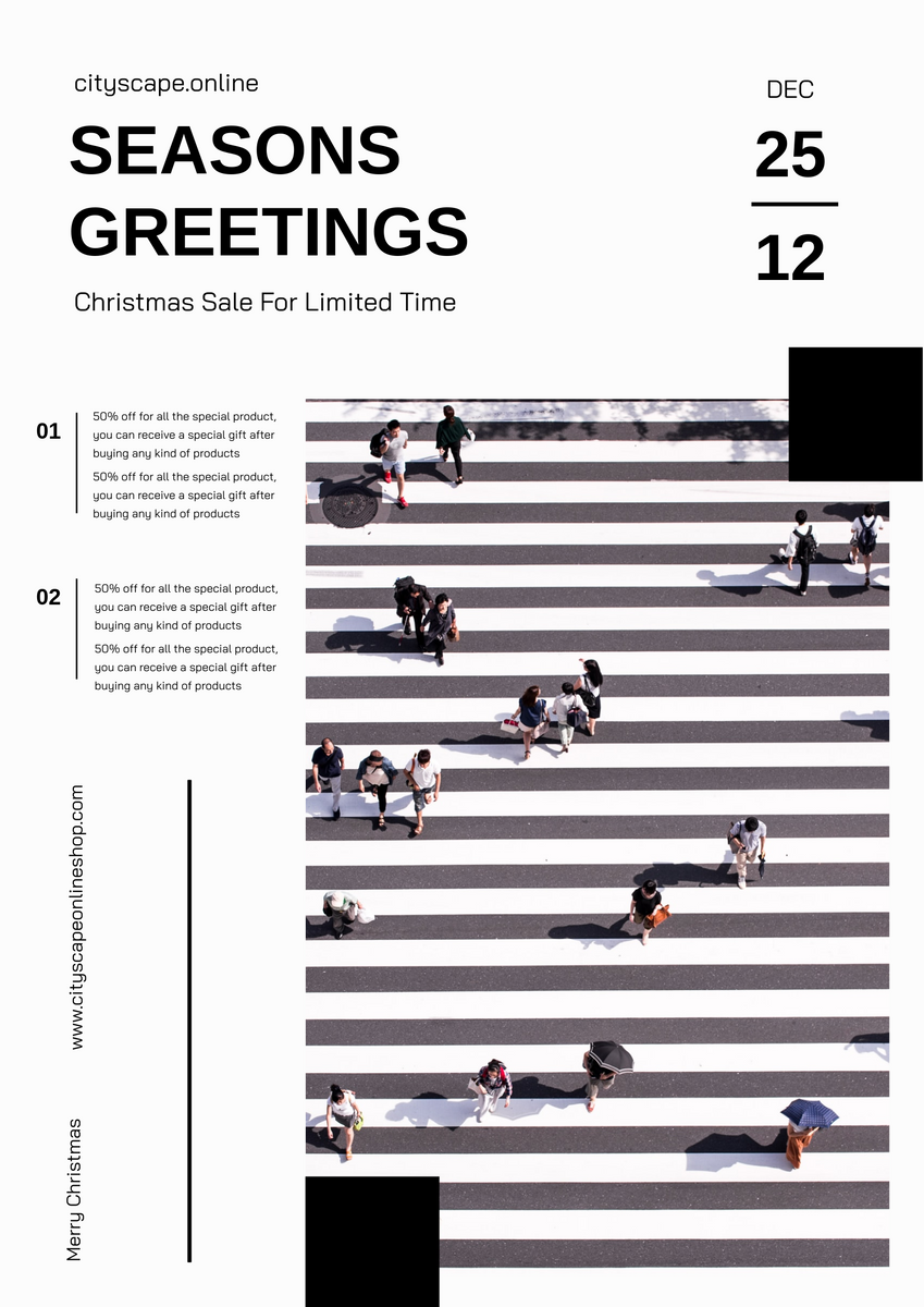 Poster template: Seasons Greetings Christmas Sale Poster (Created by InfoART's Poster maker)