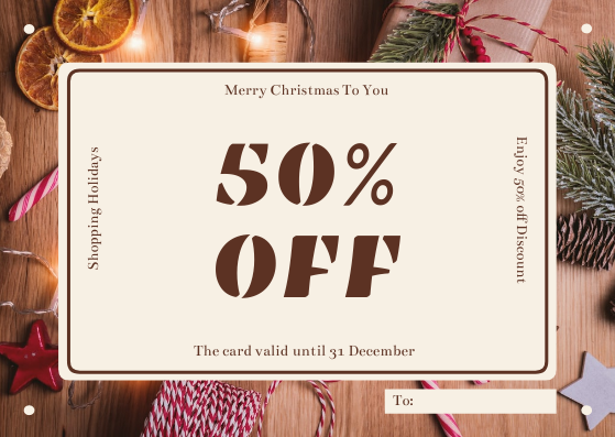 Gift Card template: Brown Christmas Decorations Photo Gift Card (Created by InfoART's Gift Card maker)