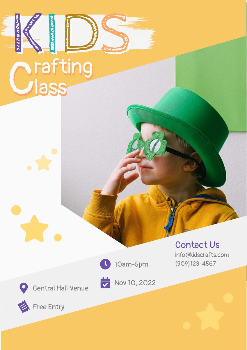 Poster template: Kids Crafting Class (Created by InfoART's Poster maker)