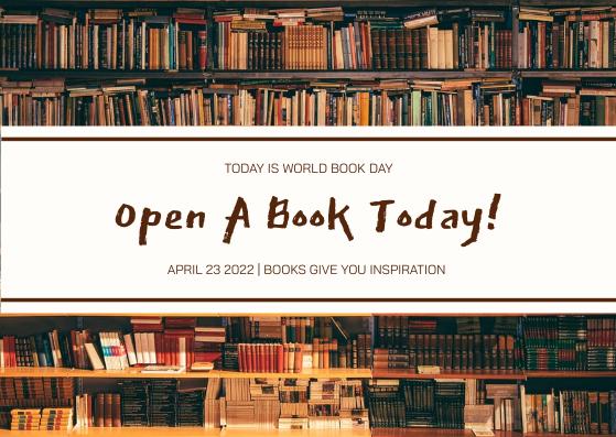 Postcard template: Brown Books Photo World Book Day Postcard (Created by InfoART's Postcard maker)