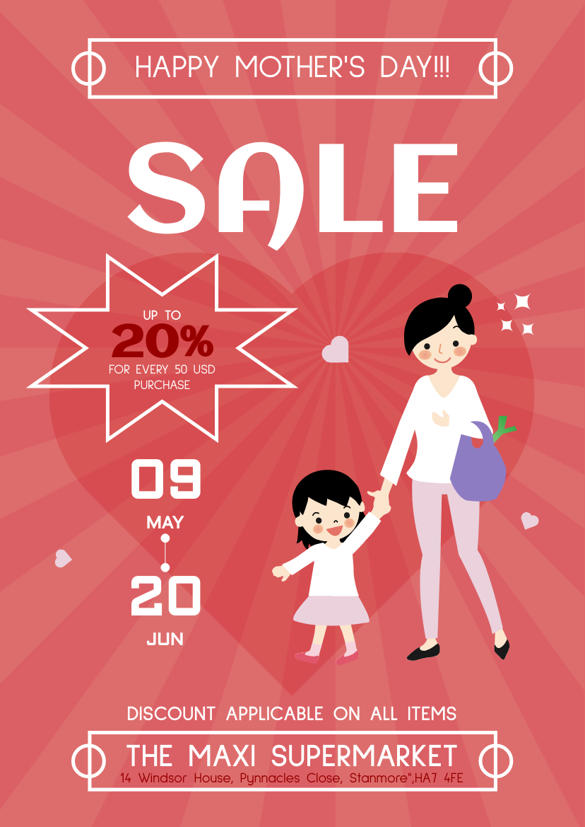 Flyer template: Supermarket Discount Mother 's Day Flyer (Created by InfoART's Flyer maker)