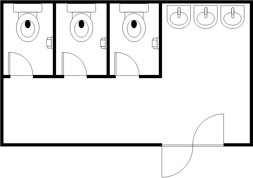 Restroom Floor Plan template: Simple Restroom (Created by Diagrams's Restroom Floor Plan maker)
