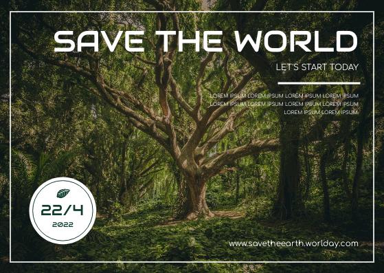 Postcard template: Dark Green Forest Photo Earth Day Postcard (Created by InfoART's Postcard maker)