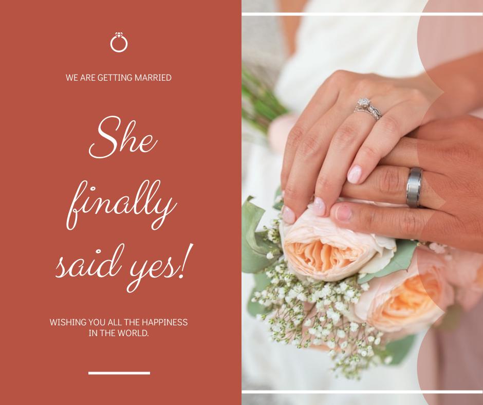 Facebook Post template: Simple Pink Wedding Photo Facebook Post (Created by InfoART's Facebook Post maker)