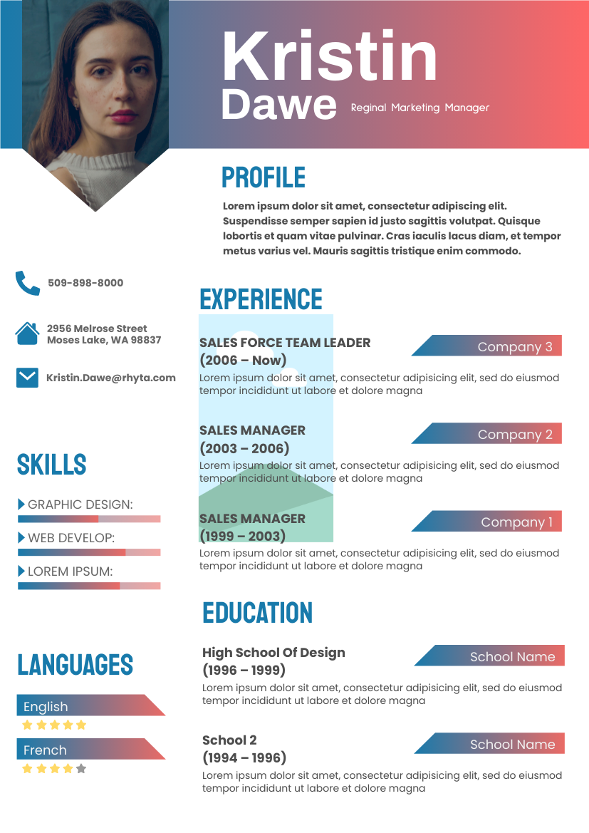 Resume template: Chathams Blue Resume (Created by InfoART's Resume maker)
