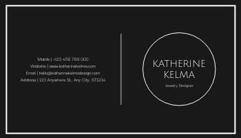 Business Card template: Black And White Marple Circle Business Card (Created by InfoART's Business Card maker)