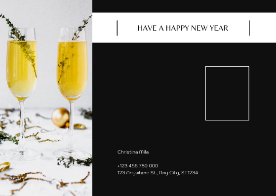 Postcard template: Yellow And Black New Year photos Postcard (Created by InfoART's Postcard maker)