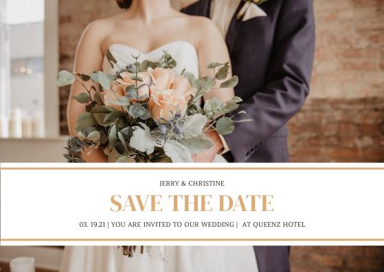 Postcard template: Soft Brown Wedding Photo Wedding Party Invitation Postcard (Created by InfoART's Postcard maker)