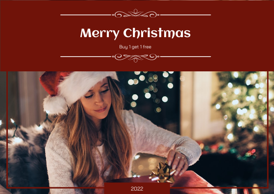 Gift Card template: Red Christmas Girl Photo Gift Card (Created by InfoART's Gift Card maker)