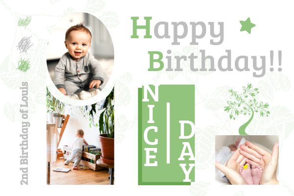 Greeting Card template: Baby Birthday Card (Created by Collage's Greeting Card maker)