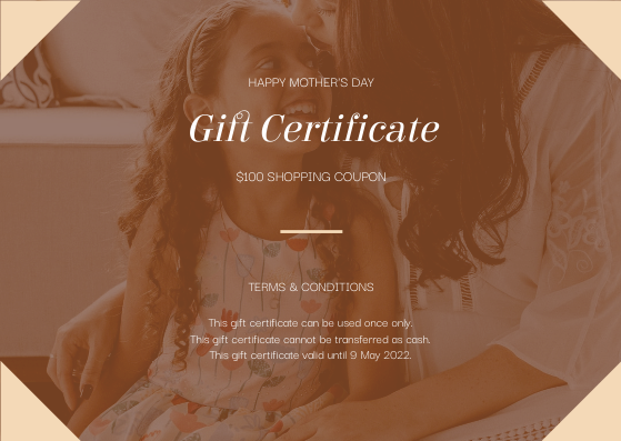 Gift Card template: Brown Mother And Daughter Photo Mother's Day Gift Card (Created by InfoART's Gift Card maker)