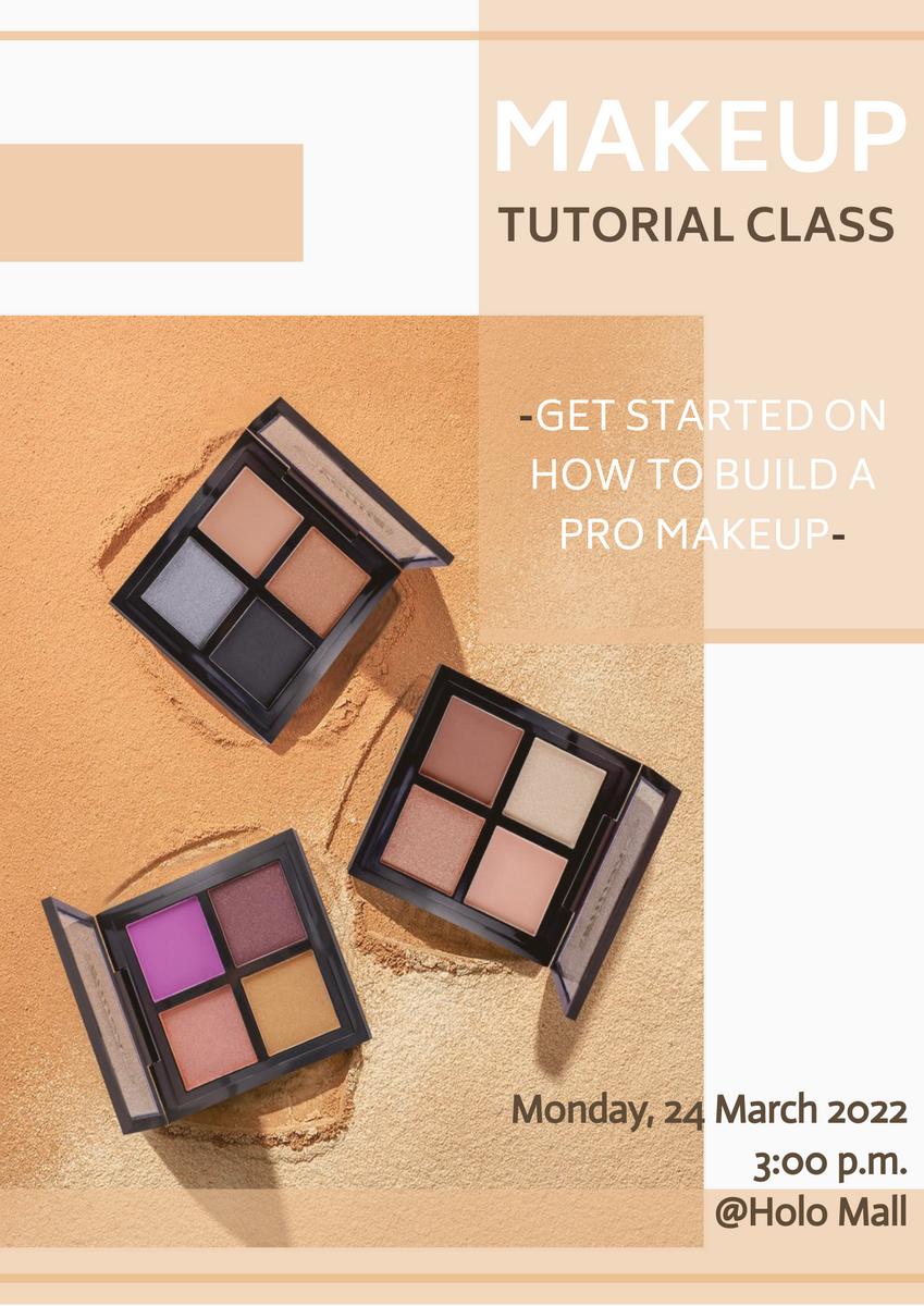 Poster template: Makeup Tutorial Class Poster (Created by InfoART's Poster maker)