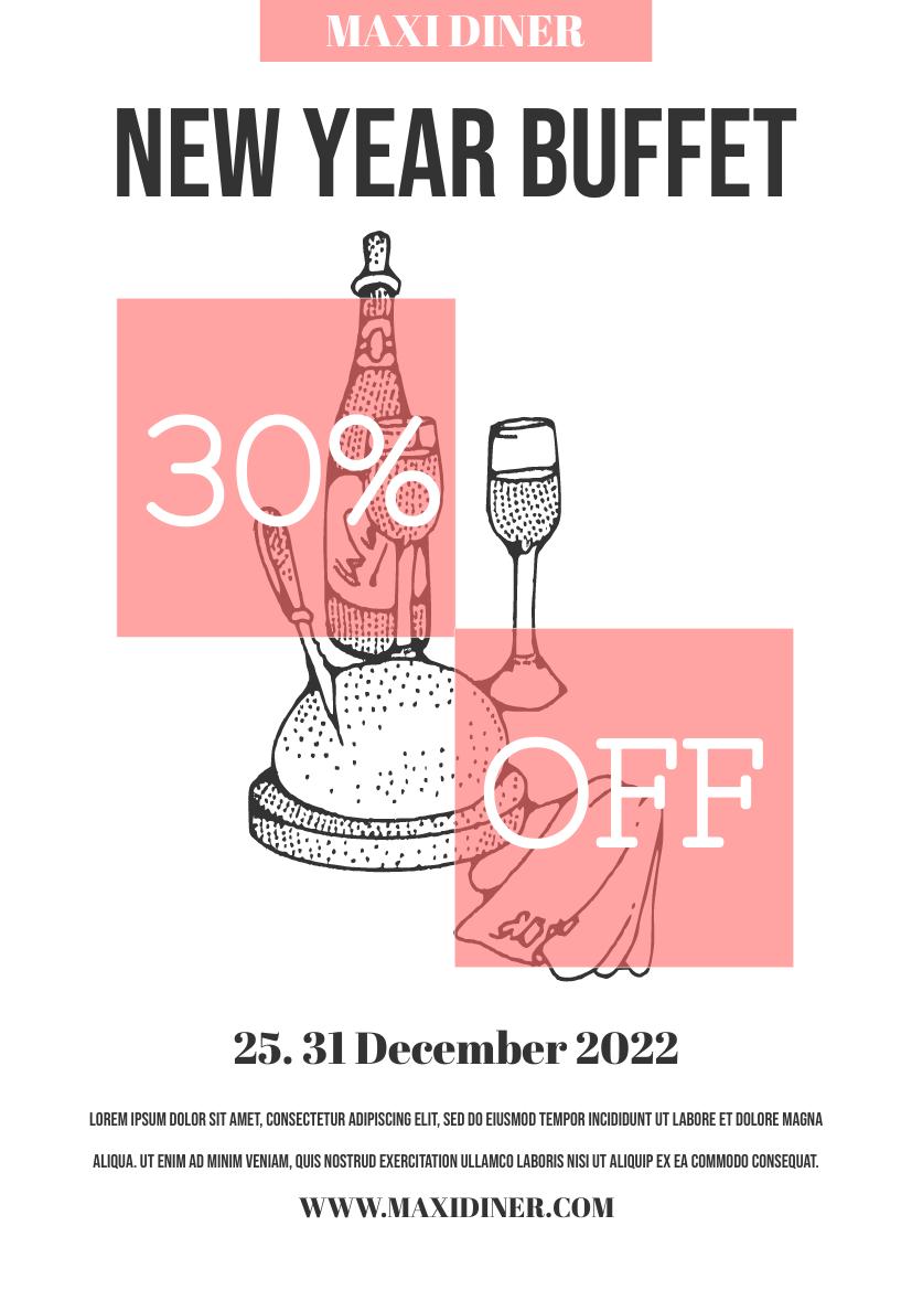 Flyer template: New Year Buffet Flyer (Created by InfoART's Flyer maker)