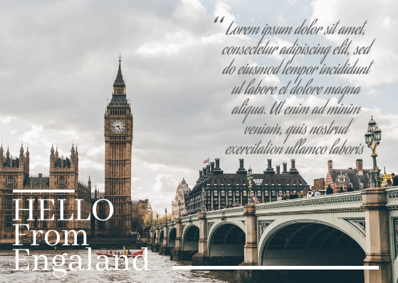 Post Card template: Engaland Postcard (Created by InfoART's Post Card marker)