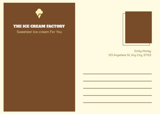 Postcard template: Yellow Brown Ice Cream Shop Postcard (Created by InfoART's Postcard maker)